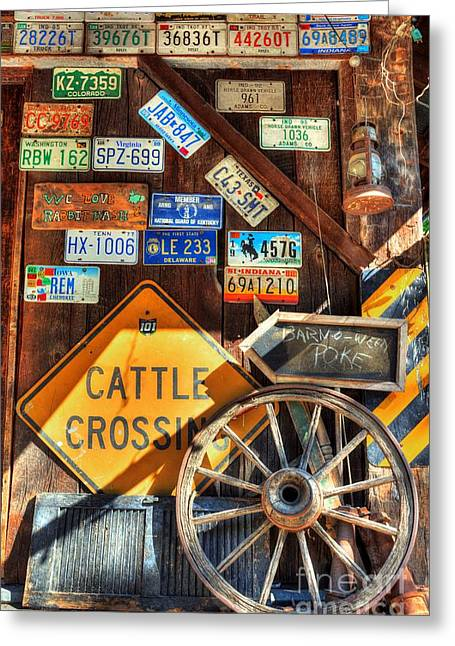 Wagon Wheels Greeting Cards - We Love Rabbit Hash Greeting Card by Mel Steinhauer