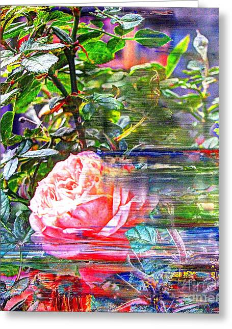 Love The Animal Mixed Media Greeting Cards - We love roses outside the window Greeting Card by Yury Bashkin