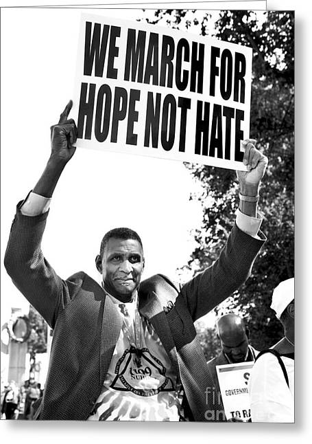 We March For Hope Not Hate Greeting Card by Diane Diederich