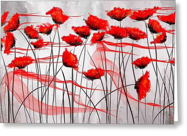 Veterans Memorial Paintings Greeting Cards - We Remember- Red Poppies Impressionist Painting Greeting Card by Lourry Legarde