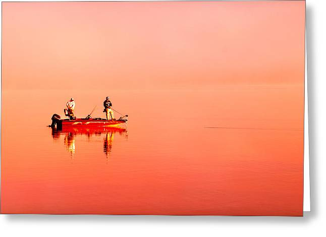 Fishing Boats Greeting Cards - We Sea Red Greeting Card by Manny Cabo