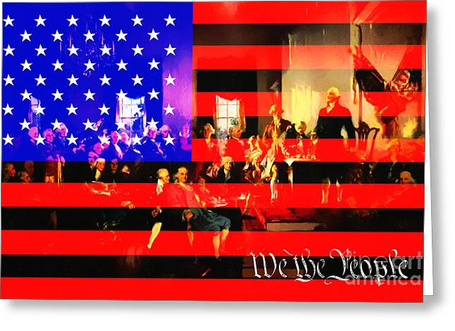 Flag Of Usa Greeting Cards - We The People 20131221 Greeting Card by Wingsdomain Art and Photography