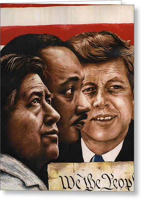Cesar Chavez Greeting Cards - We The People Greeting Card by Bill Olivas