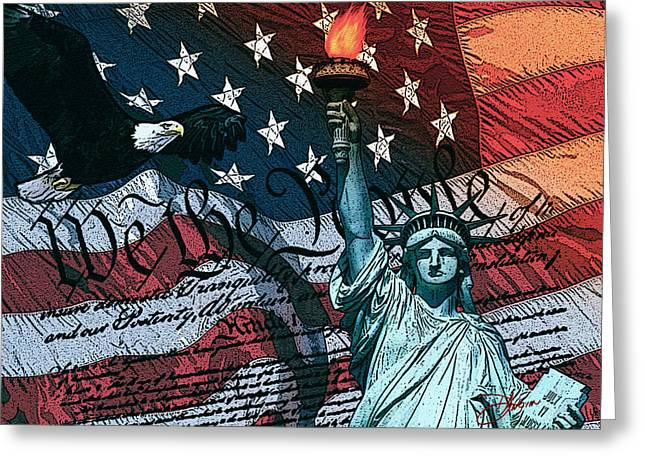 Flags Digital Art Greeting Cards - We The People For Canvas Greeting Card by Dancin Artworks