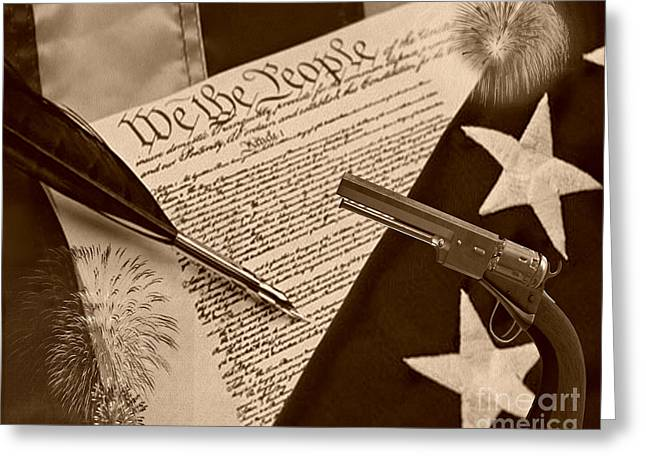 Gun Control Greeting Cards - We The People sepia Greeting Card by Cheryl Young