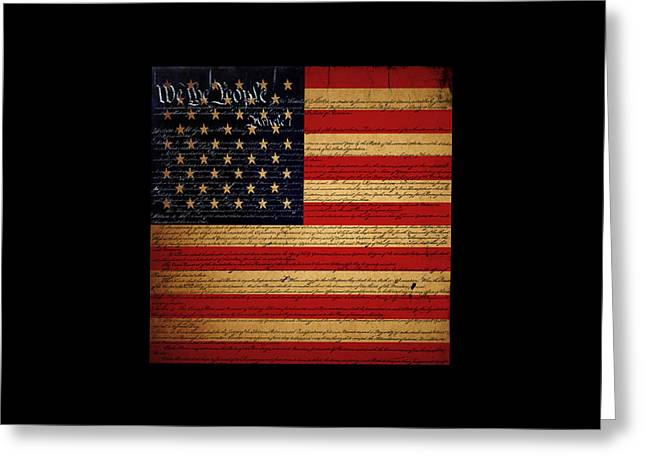 4th July Digital Art Greeting Cards - We The People - The US Constitution with Flag - square black border Greeting Card by Wingsdomain Art and Photography