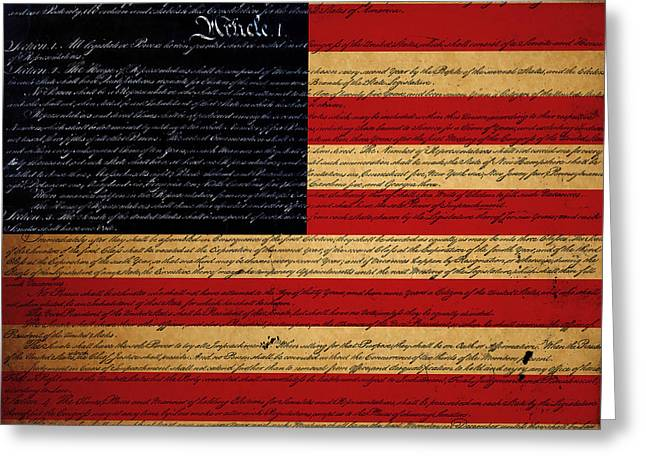 4th July Greeting Cards - We The People - The US Constitution with Flag - square Greeting Card by Wingsdomain Art and Photography