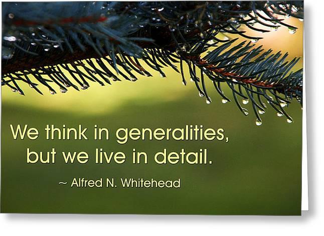 We Think In Generalities Greeting Card by Mike Flynn