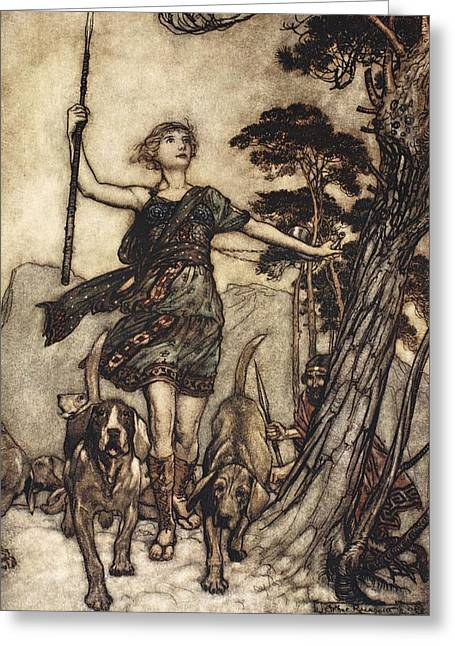 Hound Drawings Greeting Cards - We Will, Fair Queen Greeting Card by Arthur Rackham