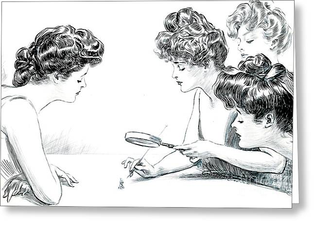Pen And Ink Drawing Photographs Greeting Cards - Weaker Sex 1903 Greeting Card by Padre Art