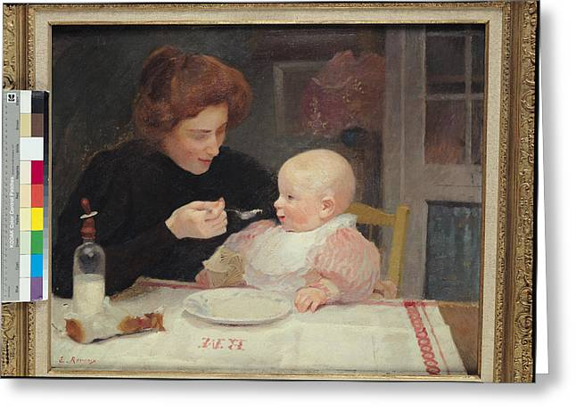 Caring Mother Greeting Cards - Weaning Oil On Canvas Greeting Card by Jules Ernest Renoux