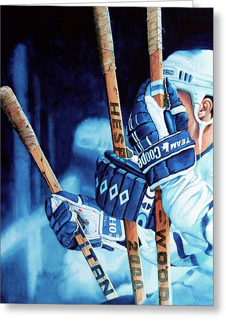 Hockey Paintings Greeting Cards - Weapons of Choice Greeting Card by Hanne Lore Koehler