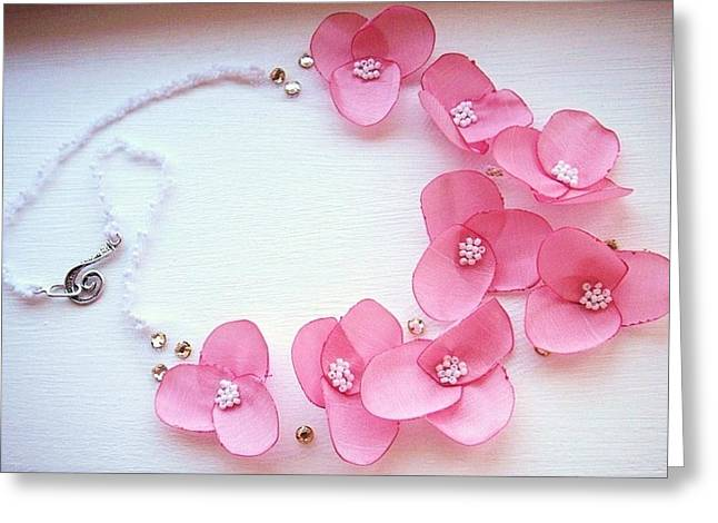 Petal Jewelry Greeting Cards - Wearable art . one of a kind statement necklace Greeting Card by Marianna Mills