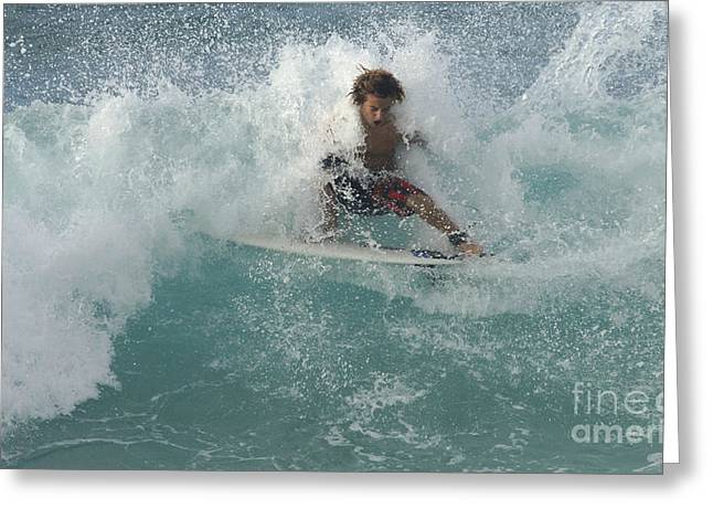 Adrenalin Greeting Cards - Wearing The Wave Greeting Card by Bob Christopher