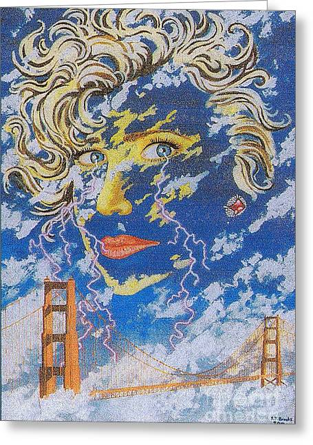 Famous Bridge Drawings Greeting Cards - Weather Girl Greeting Card by Stephen Brooks
