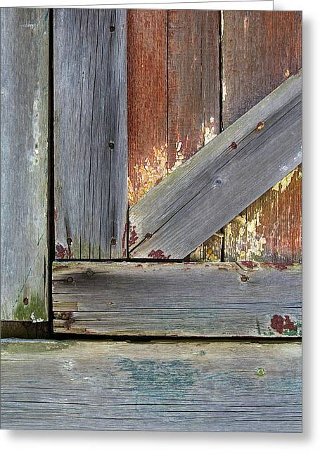 Old Crumbling Barn Greeting Cards - Weathered Barn Door Greeting Card by David Letts