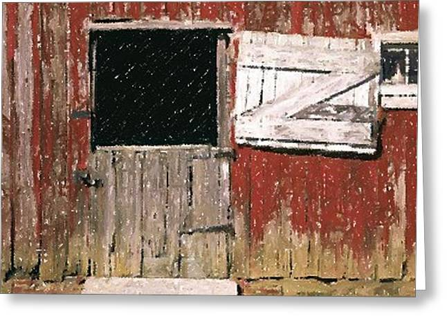Barn Door Pastels Greeting Cards - Weathered Barn Door Greeting Card by Olde Time  Mercantile