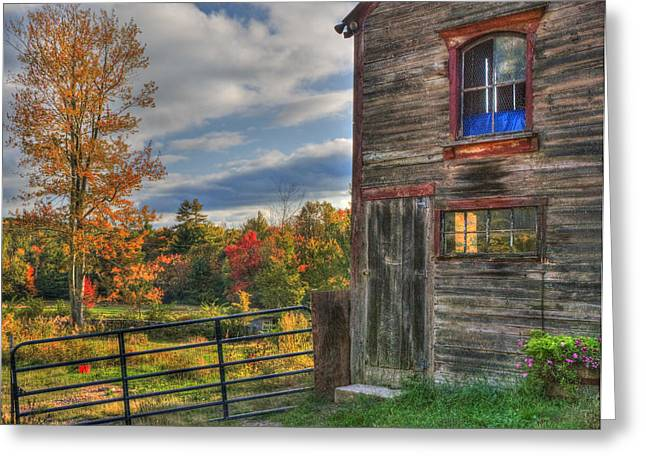 Autumn Scenes Greeting Cards - Weathered Barn in Autumn Greeting Card by Joann Vitali