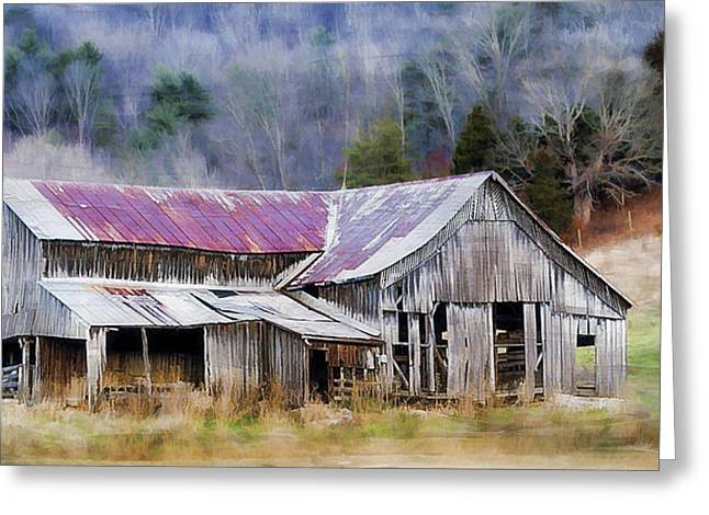 Old Barns Greeting Cards - Weathered Barn Greeting Card by Kathy Jennings
