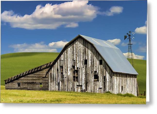 Farming Barns Greeting Cards - Weathered Barn Palouse Greeting Card by Carol Leigh