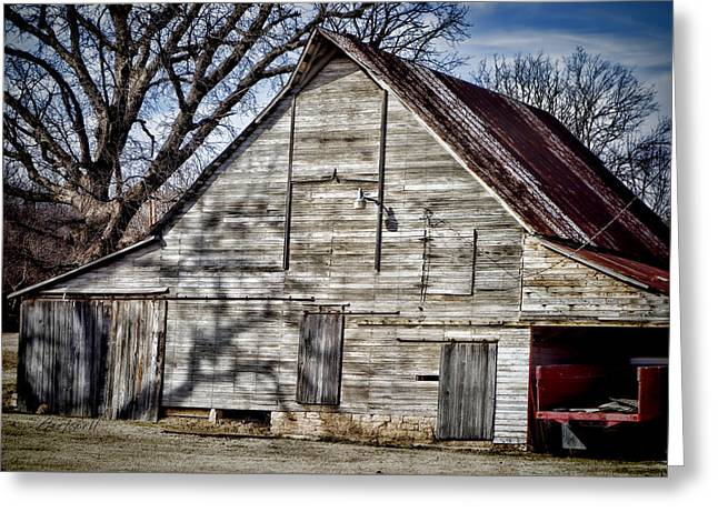 Old Barns Greeting Cards - Weathered Barn - photography Greeting Card by Ann Powell