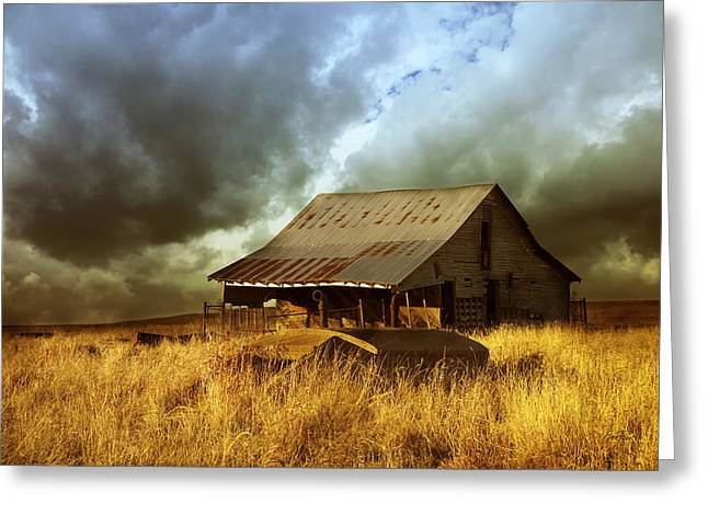Barn Landscape Photographs Greeting Cards - Weathered Barn  Stormy Sky Greeting Card by Ann Powell