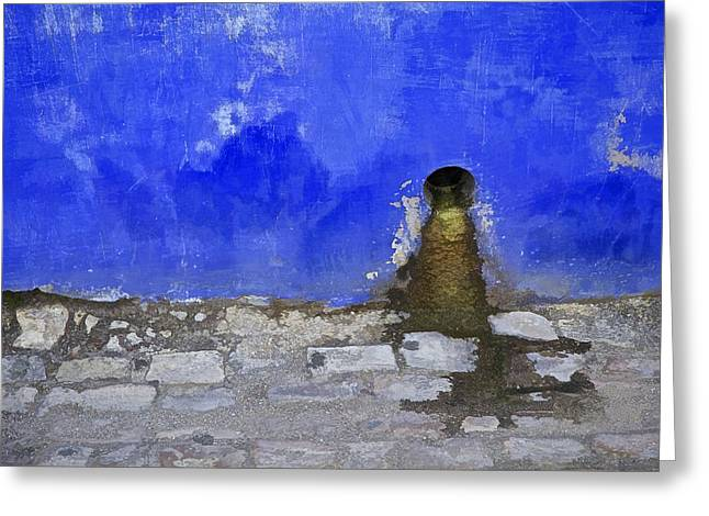 Drain Greeting Cards - Weathered Blue Wall of Old World Europe Greeting Card by David Letts