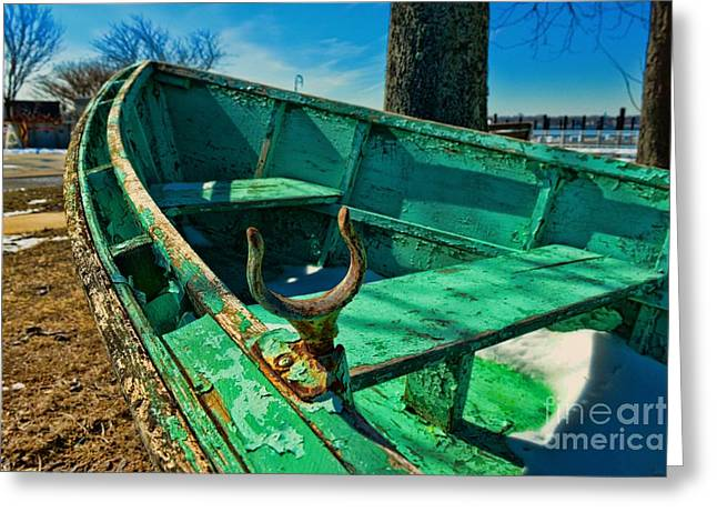 Seafarer Greeting Cards - Weathered Boat Dry Docked Greeting Card by Paul Ward