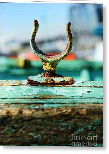 Seafarer Greeting Cards - Weathered Boat Oar Lock Greeting Card by Paul Ward