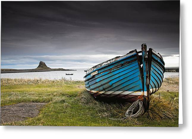 Holy Vessels Greeting Cards - Weathered Boat On The Shore Greeting Card by John Short