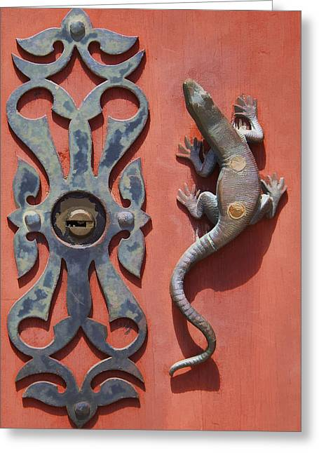 Medieval Village Greeting Cards - Weathered Brass Door Handle of Medieval Europe Greeting Card by David Letts