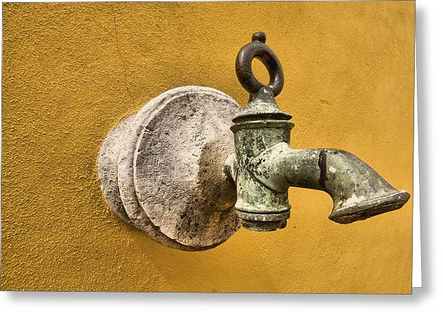 David Letts Greeting Cards - Weathered Brass Water Spigot Greeting Card by David Letts