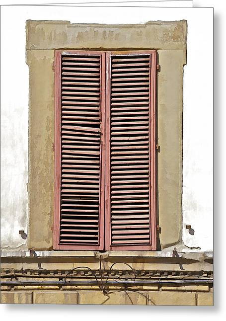 Broken Shutters Greeting Cards - Weathered Brown Wood Window Shutters of Tuscany Greeting Card by David Letts