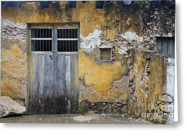 Entrance Door Greeting Cards - Weathered Building And Door Greeting Card by Ellen Thane