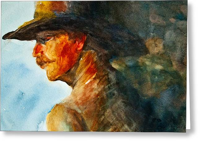 Weathered Cowboy Greeting Card by Jani Freimann