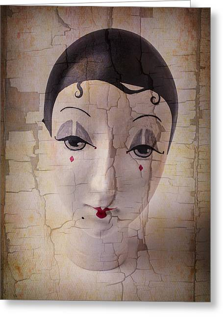 Fanciful Greeting Cards - Weathered Doll Face Greeting Card by Garry Gay