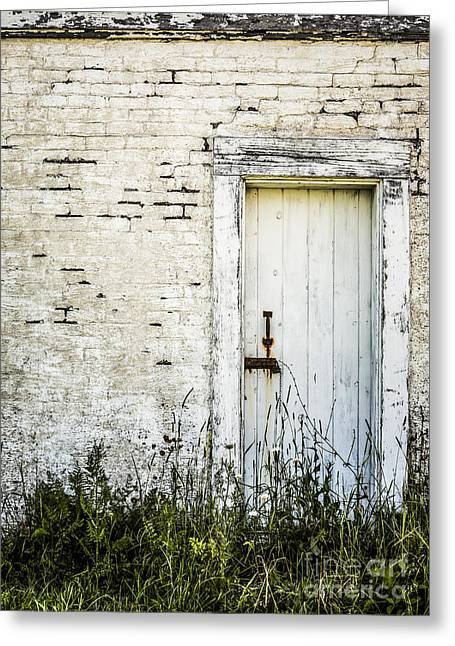 Old Maine Houses Greeting Cards - Weathered Door Greeting Card by Diane Diederich