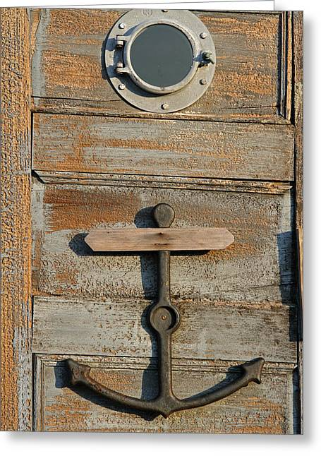 Rockport Ma Greeting Cards - Weathered Door with Anker Greeting Card by Juergen Roth