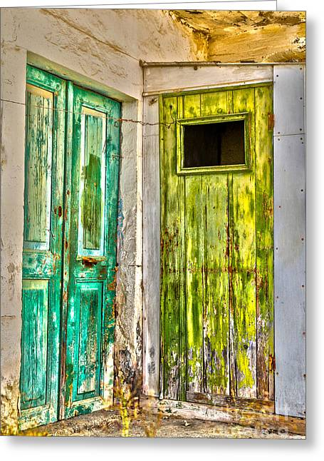 Traditional Doors Greeting Cards - Weathered doors Greeting Card by Patricia Hofmeester