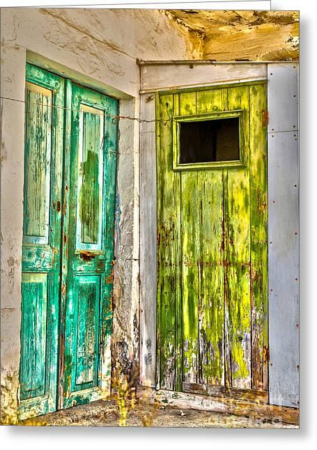 Traditional Door Greeting Cards - Weathered doors Greeting Card by Patricia Hofmeester