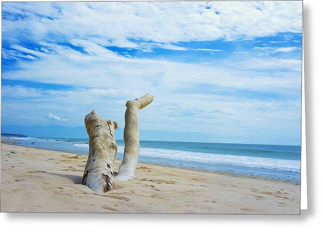 Clean Water Digital Art Greeting Cards - Weathered Driftwood Greeting Card by Aged Pixel