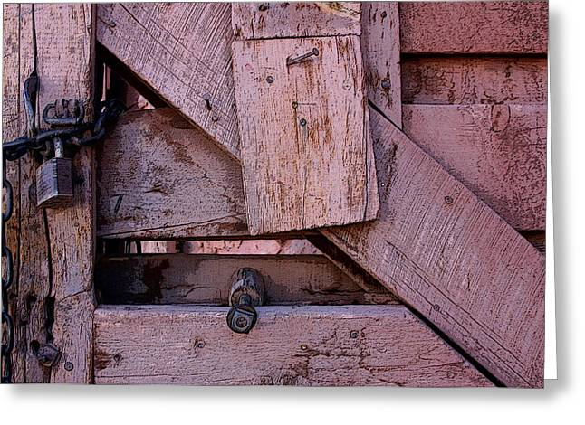 Old Fence Posts Digital Greeting Cards - Weathered Gate With Lock And Chain Greeting Card by Joe Kozlowski