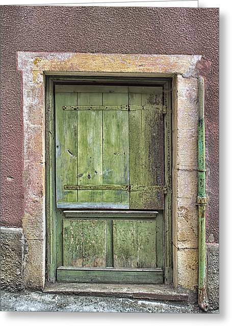 France Doors Greeting Cards - Weathered Green French Door Greeting Card by Nomad Art And  Design