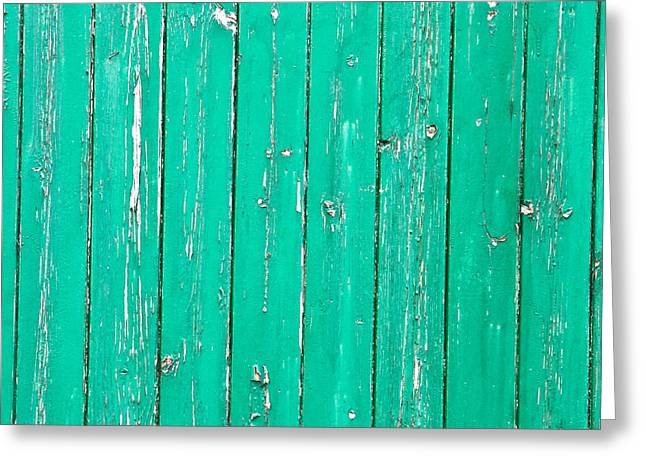 Backdrop Photographs Greeting Cards - Weathered green wood Greeting Card by Tom Gowanlock
