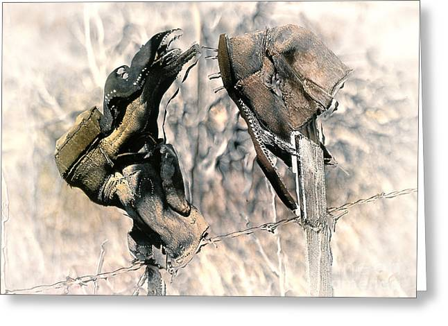 Old Western Photos Digital Art Greeting Cards - Weathered Leather Greeting Card by Barbara D Richards