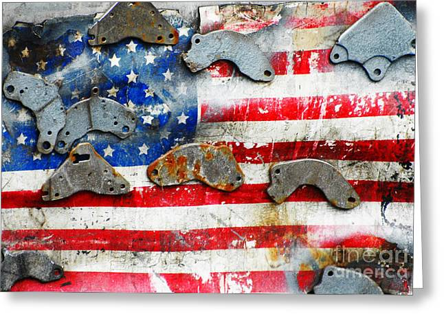Old Glory Mixed Media Greeting Cards - Weathered Metal American Flag Greeting Card by Anahi DeCanio