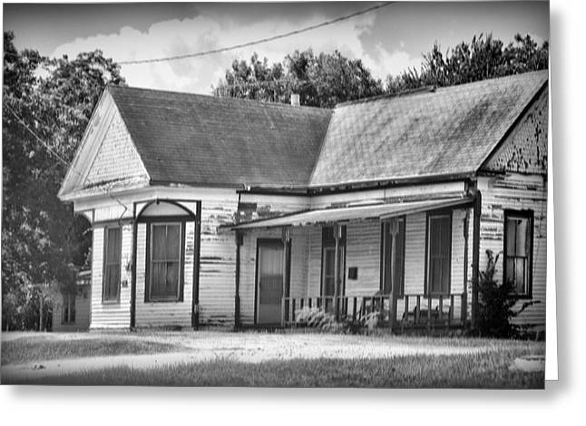 Pealed Greeting Cards - Weathered Old House BW Greeting Card by Linda Phelps