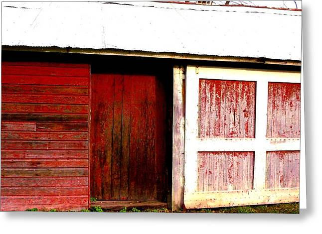 """""""sliding Doors"""" Greeting Cards - Weathered Red Barn Door Greeting Card by Mykul Anjelo"""