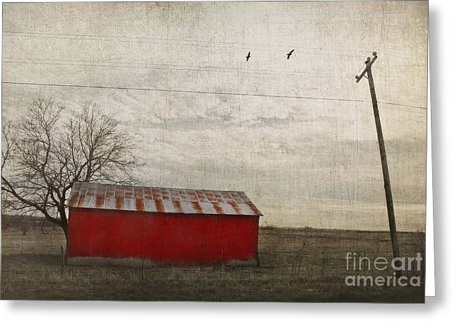 Iron Greeting Cards - Weathered red barn Greeting Card by Elena Nosyreva