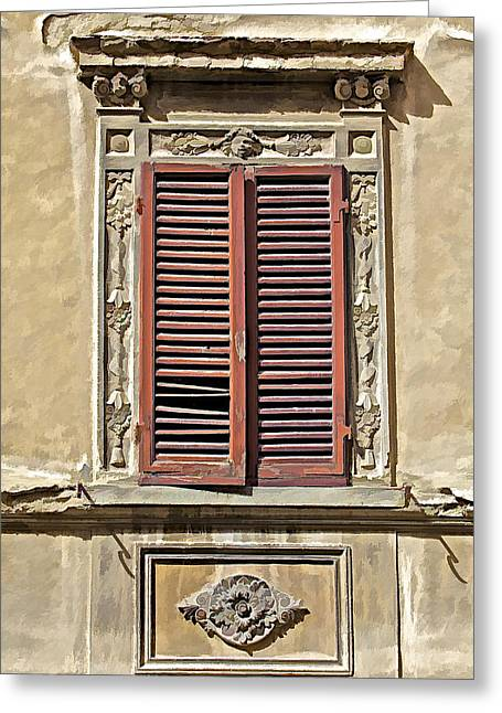 Hand Carved Greeting Cards - Weathered Red Wood Window Shutters of Tuscany II Greeting Card by David Letts